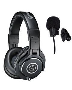 Audio-Technica ATH-M40x Professional Studio Monitor Headphones With Zalman Zm-Mic1