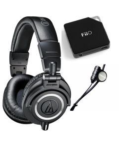 Audio-Technica ATH-M50x Professional Studio Monitor Headphones With Zalman Zm-Mic1 and FiiO E6